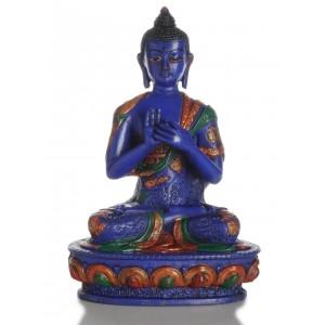 Vairocana Buddha Statue blau  20 cm Resin bemalt