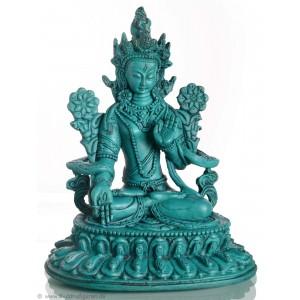 Weiße Tara Statue 25 cm Resin türkis