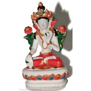 Weiße Tara Statue 10 cm Resin weiß bemalt