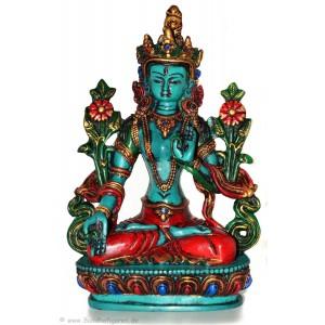 Weiße Tara Statue 20 cm Resin türkis bemalt