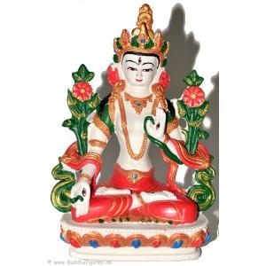 Weiße Tara Statue 20 cm Resin weiß bemalt