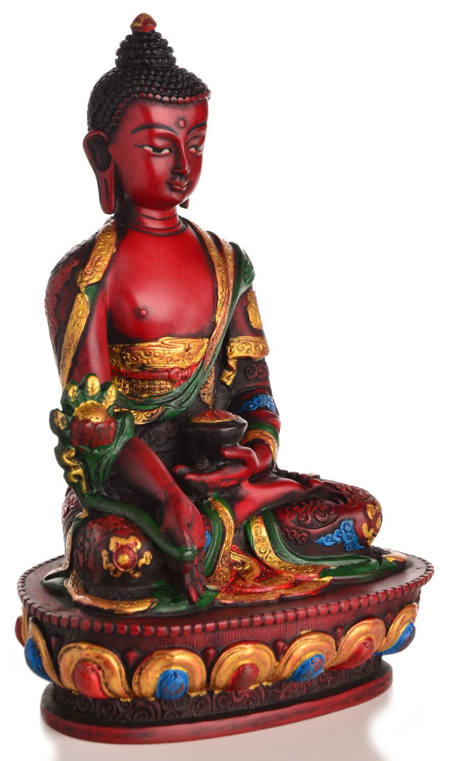medizin buddha statue bemalt resin rot 20 cm nepal kaufen. Black Bedroom Furniture Sets. Home Design Ideas