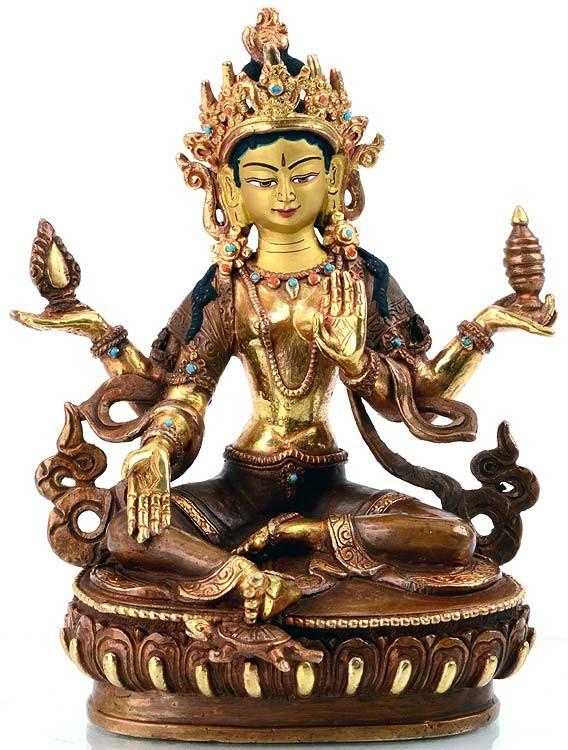 Startseite   Lakshmi - Laxmi Statue 16 cm teilfeuervergoldetLakshmi Statue