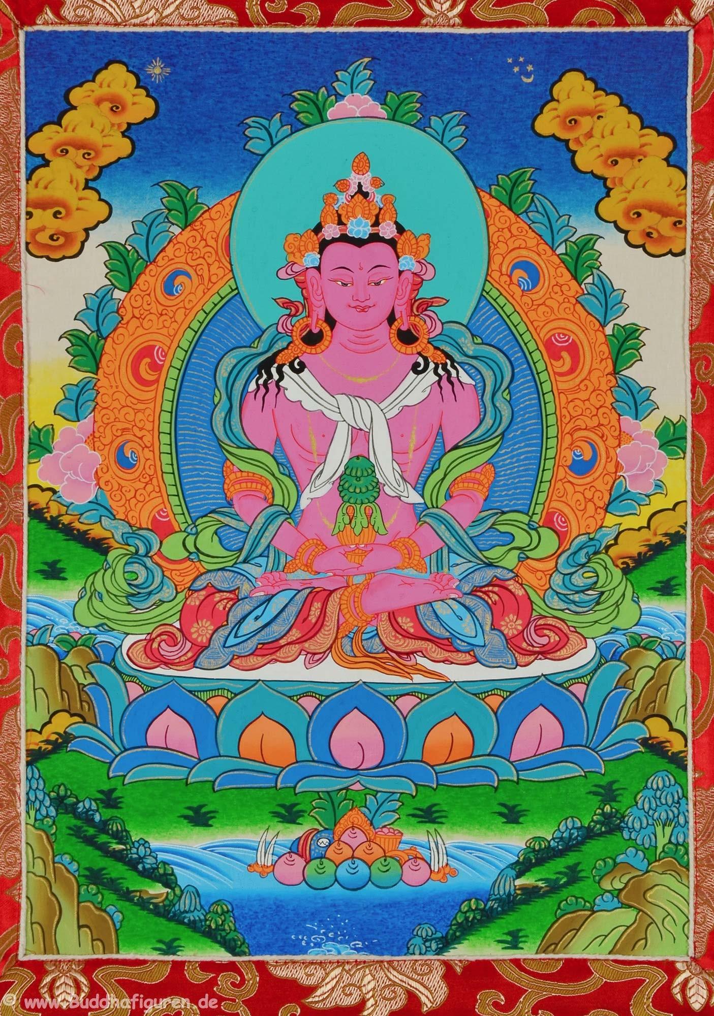 Thangka Amitayus im tibetischen Brokatrahmen