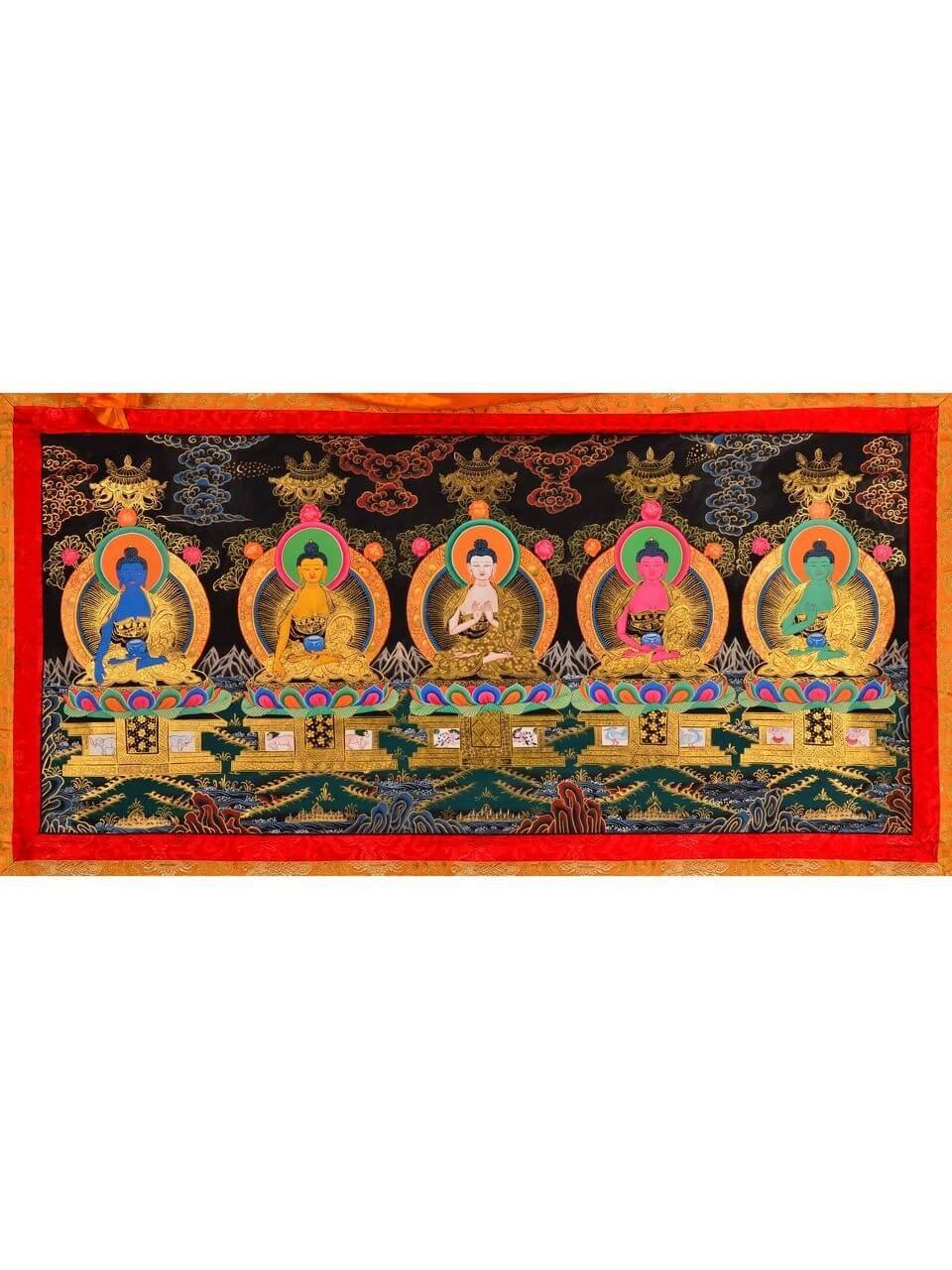 Thangka Pancha Buddha 116 x 153 cm