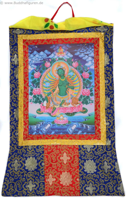 Thangka Grüne Tara Green Tara Repro Kunstdruck im tibetischen ...