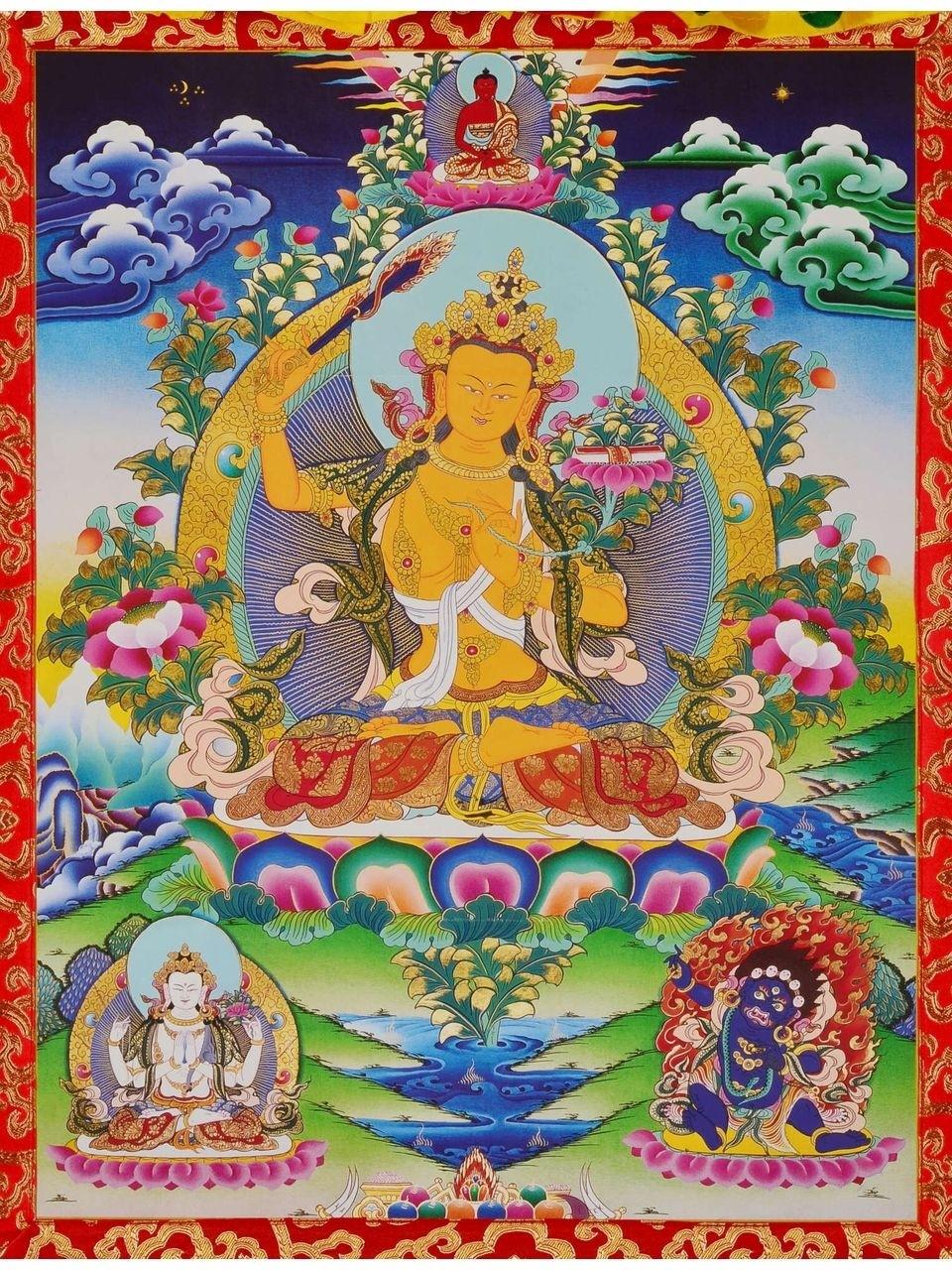 Thangka Manjushri Repro Kunstdruck im tibetischen Brokatrahmen