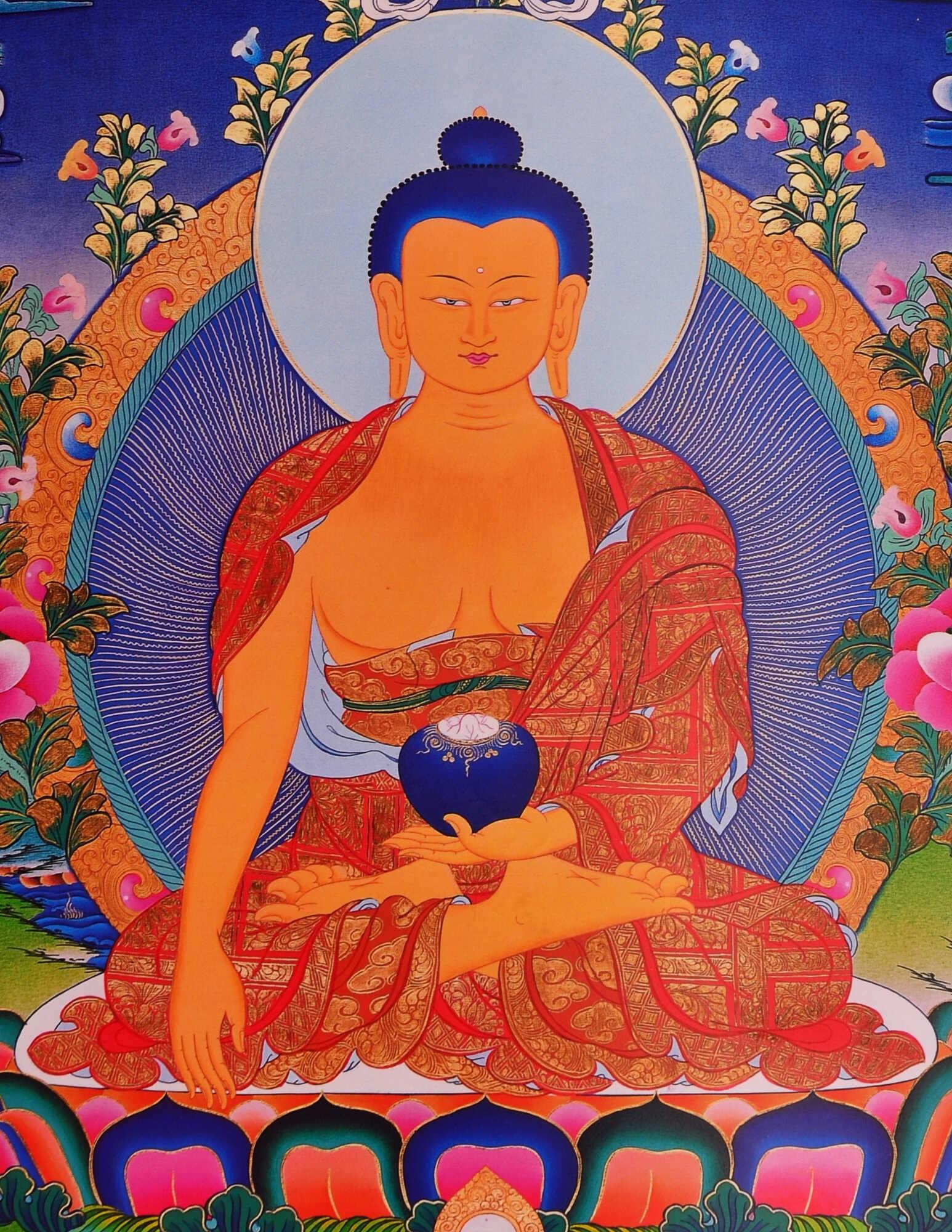 Thangka Shakyamuni Buddha Gautama Repro Kunstdruck im tibetischen ...