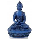 Amitabha Buddha Statue Resin 19 cm blau