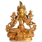 Grüne Tara Statue sitzende Positzion in der Vorderansicht
