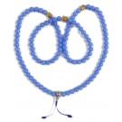 Mala mit Buddhaköpfen Glas blau