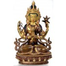 Avalokiteshvara Chenrezi 22 cm teil feuervergoldet Buddha Statue