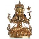 Avalokiteshvara - Chenresig  34 cm Buddha Statue vollfeuervergoldet