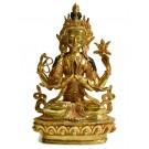 Avalokiteshvara Chenresig 22,5 cm vollvergoldet Buddha Statue gehobene Qualität