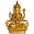 Avalokiteshvara Chenresig 22 cm vollvergoldet Buddha Statue Premium