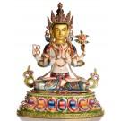 Avalokiteshvara Chenresig 40 cm vollvergoldet und bemalt Buddha Statue
