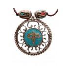 Halskette Buddha Eyes türkis