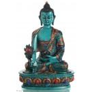 Medizinbuddha 20 cm Buddha Statue  bemalt türkis