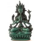 Avalokiteshvara - Chenresig 15 cm Buddha Statue Resin türkis