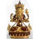 Avalokiteshvara Chenrezig 33 cm teilfeuervergoldet Buddha Statue