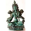 Grüne Tara Statue 20 cm Resin türkisgrün