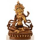 Saraswati Statue 15,5 cm teilfeuervergoldet
