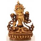 Weiße Tara 16 cm teilfeuervergoldet Buddha Statue