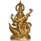 Saraswati 74 cm Messing Statue