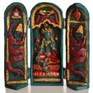 Buddha Schrein Grüne Tara bemalt 20 cm türkis