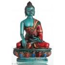 Akshobhya  / Shakyamuni 11,5 cm Buddha Statue Resin türkis bemalt