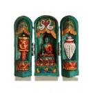 Buddha Schrein 12 cm türkis bemalt