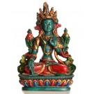 Weiße Tara Statue 15 cm Resin türkis bemalt