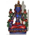 Weiße Tara Statue 20 cm Resin blau bemalt